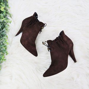 Lulu Guinness Drawstring Ankle Suede Booties 39 8